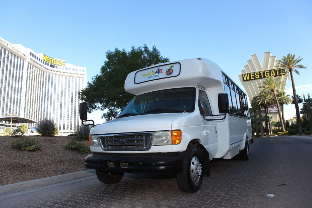 healthier 4u vending shuttle parked at the westgate hotel and casino